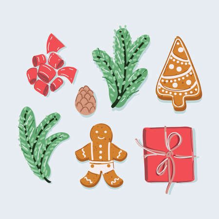 Vector illustration of Christmas set with cute forest animals. New Years branches, gingerbread cookies present box top view on white backround 向量圖像