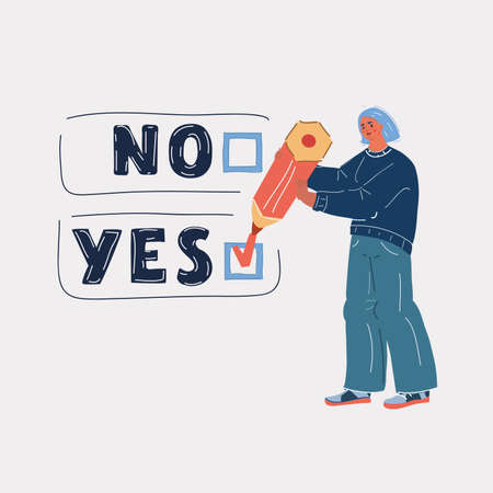Vector illustration of voting woman. Yes or No. Mark check with big pencil