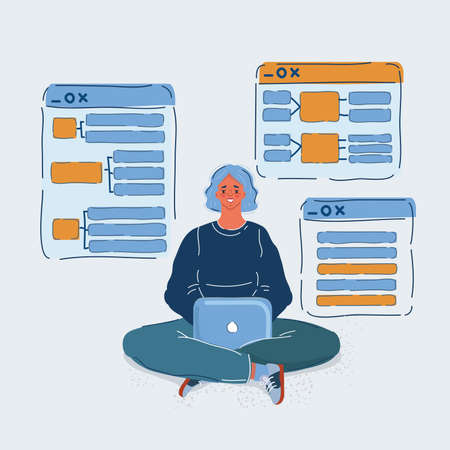 Vector illustration of Woman working on her laptop computer. Developer developing concept on white