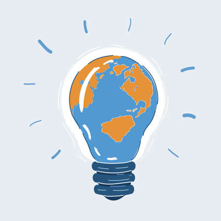Vector illustration of earth bulblight on white backround