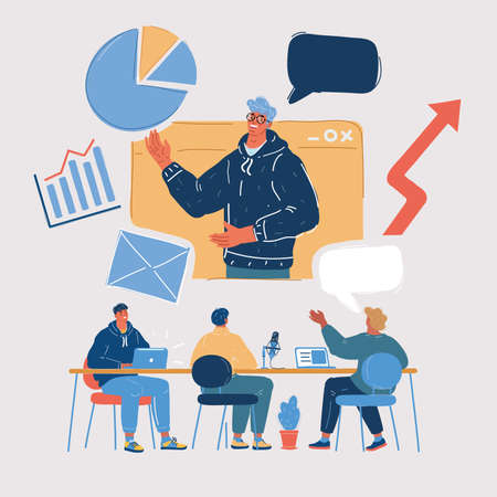 Vector illustration of Business Team Brainstorming Using Tablet Meeting Concept