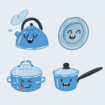 Vector illustration of Set of Funny Pans Smilies. Kettle, stewpan, saucepan, plate on white. 向量圖像