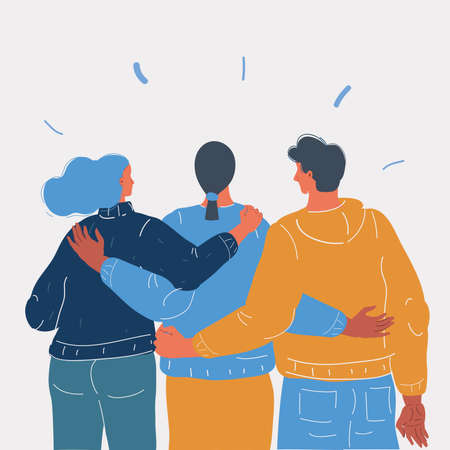 Vector illustration of Back view of yong people stay together. Rear view.
