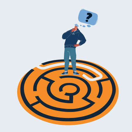 Vector illustration of Help person find a way. Man think how to pass the maze. Question in his head on white backround.