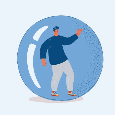 Vector illustration of Inflatable ball with man inside. Social isolation, introversion 向量圖像
