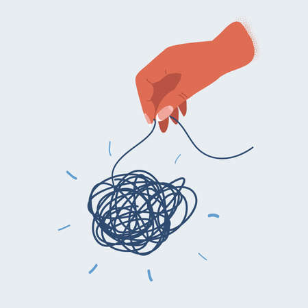 Vector illustration of hands and tangled thread. Untangling concept.