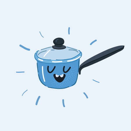 Vector illustration of Frying pan, dish, recipe. Culinary concept. Saucepan with face on white background. 向量圖像