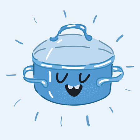 Vector illustration of pan, dish, recipe. Culinary concept. Saucepan with face on white background. 向量圖像
