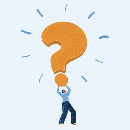 Vector illustration of big Question mark in woman hands 向量圖像