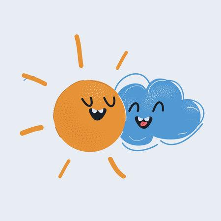 Vector illustration of Sun Hugging Cloud on white
