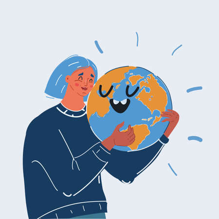 Vector illustration of Smiling young woman hugging earth globe