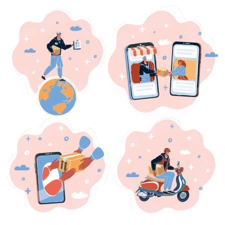 Vector illustration of Set of people different delivery service workers characters. Bundle cartoon people delivering packages to clients