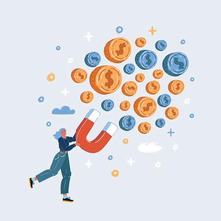 Vector illustration of Business concept of woman hold magnet attract money 向量圖像