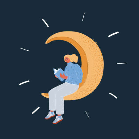 Vector illustration of Woman reading a book, sitting on the crescent Moon on dark backround. 向量圖像