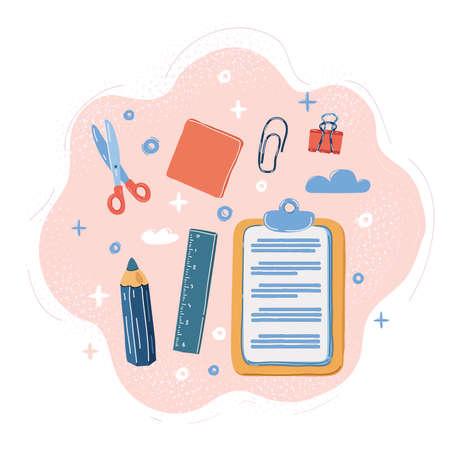 Vector illustration of office supplies on pink 向量圖像