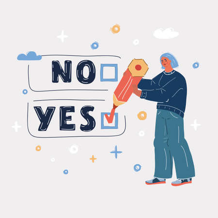 Vector illustration of woman with a Yes or No sign 向量圖像