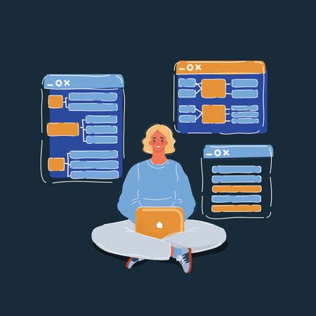 Vector illustration of Business Woman or Freelancer Working on Laptop Freelance