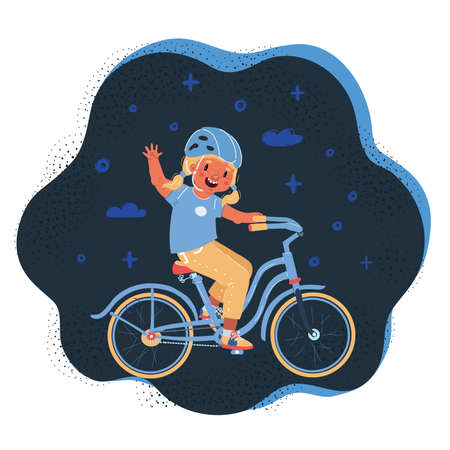 Vector illustration of little girl on bicycle on dark backround. 向量圖像