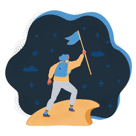 Vector illustration of woman with flag on a Mountain peak on dark background. 向量圖像