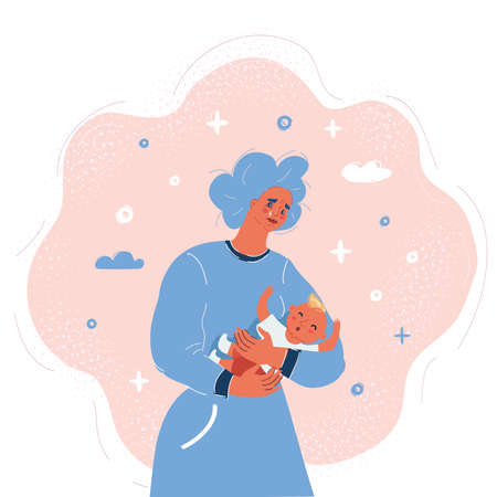 Vector illustration of sad exhausted mother holding baby 向量圖像