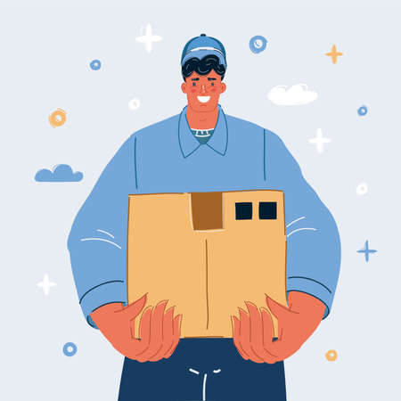 Vector illustration of Smiling young delivery man holding and carrying a cardbox 向量圖像