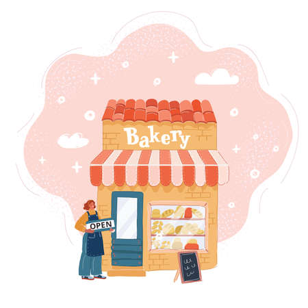 Vector illustration of Young woman open bakery shop