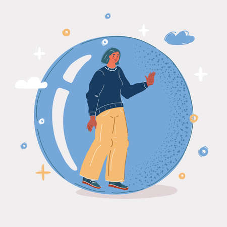 Vector illustration of woman inside glass sphere. Protection from the world and people