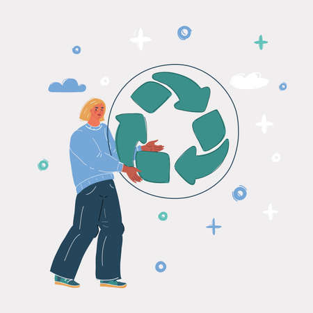 Vector illustration of People take care of environment. Woman hold big recycle sign in her hands