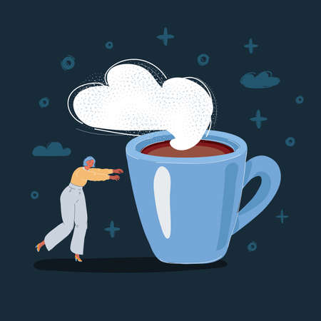 Vector illustration of exhausted woman walk toward to big mug of coffe on dark backround.