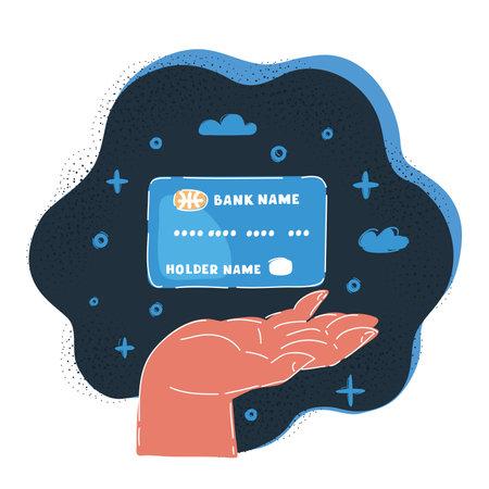 Vector illustration of hand showing credit cards on dark background.