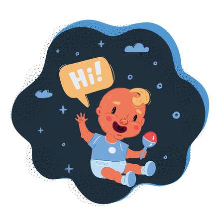 Vector illustration of Little boy wave to you on dark backround. 向量圖像
