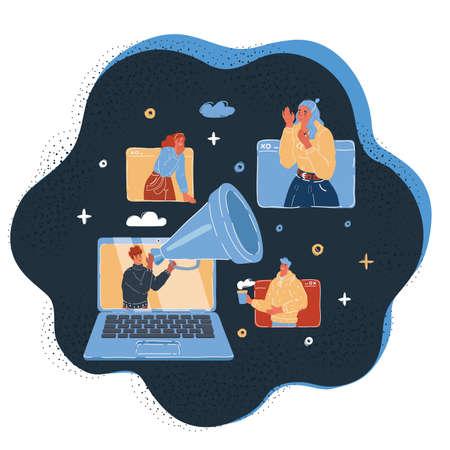 Vector illustration of online news, social networks, virtual communication, information retrieval, company news. Human dialogue online on dark background.
