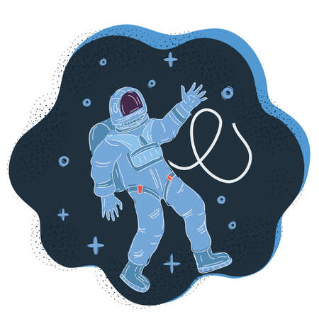 Vector illustration of astronaut in a spacesuit hovers in zero gravity on dark backround.