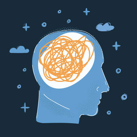 Vector illustration of human head, mess thought inside on dark backround. 向量圖像