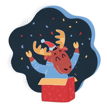 Vector illustration of Christmas moose celebrate 向量圖像