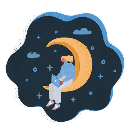 Vector illustration of woman working at night sitting at crescent moon on dark backround.