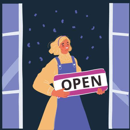 Vector illustration of shop owner holding open signboard on dark backrgound. 向量圖像