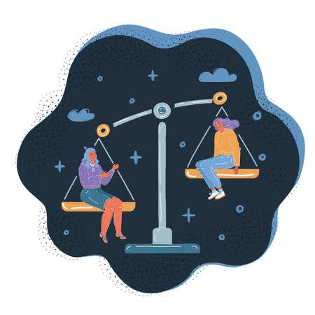 Vector illustration of people equality concept. Balance symbol. Job, envious, jealousy, low self-esteem at dark backround. 向量圖像