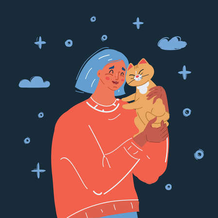 Vector illustration of young woman holding her cat