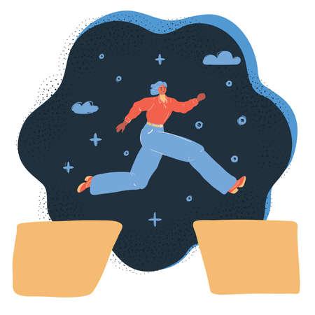 Vector illustration of woman jumping