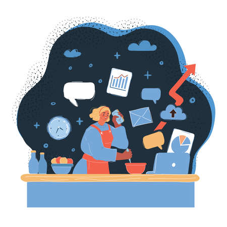 Vector illustration of Busy mother doing simultaneously many tasks, cooking, working and talking and on the phone at evening listening to a lecture at dark backround. 向量圖像