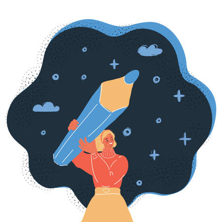Vector illustration of woman is holding big pencil on dark backround. Wrigth, drawning, marks concept. 向量圖像