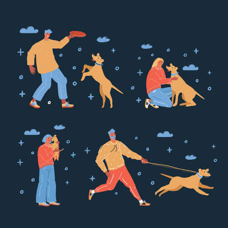 Vector illustration of People walking with dogs on dark background.