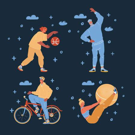 Vector illustration of sport people on dark backround.