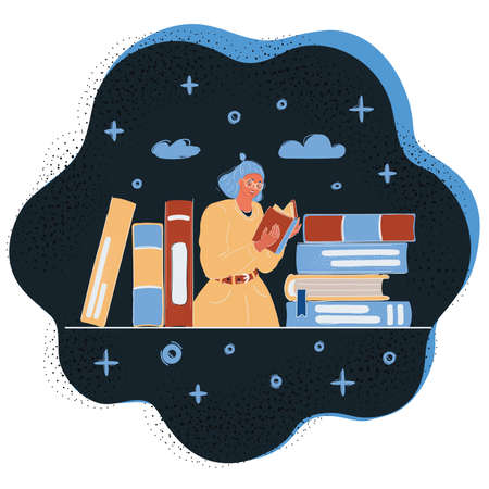 Vector illustration of Woman Reading book among stack of book arround.
