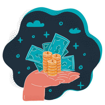 Vector illustration of mail hand holds dollars and coin on dark backround.