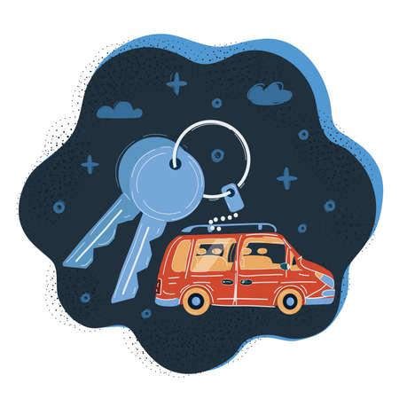 Vector illustration of Modern car keys on dark backround. 向量圖像