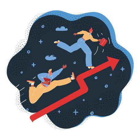 Vector illustration of Business team running on red arrow. Business concept on dark backround. 向量圖像