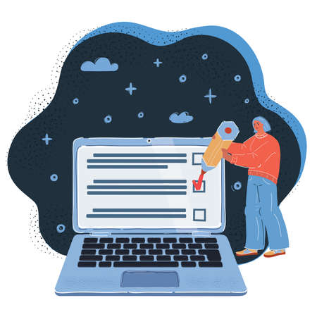 Vector illustration of Woman checking test on screen of her laptop on dark backround.