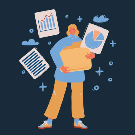 Vector illustration of woman with big folder and files in it on dark backround.